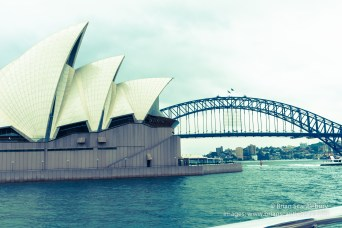Sydney Harbour, Bridge and Opera House retro styled image adding to the iconic and historic feel on image.